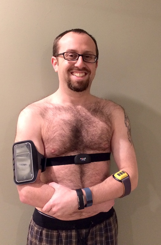 iPhone on my right arm, Polar H7 on my chest, Scosche Rhythm on my left arm, and the Fitbit Flex and Polar Loop on my left wrist