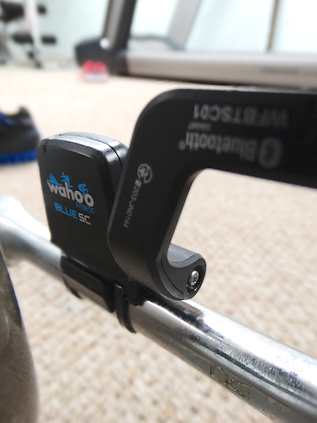 Main sensor attached to pedal arm with zip ties