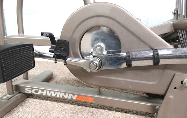 Far view showing magnets on connecting arm and sensor on pedal arm