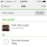 WeMo - Prior version of app showing rules settings
