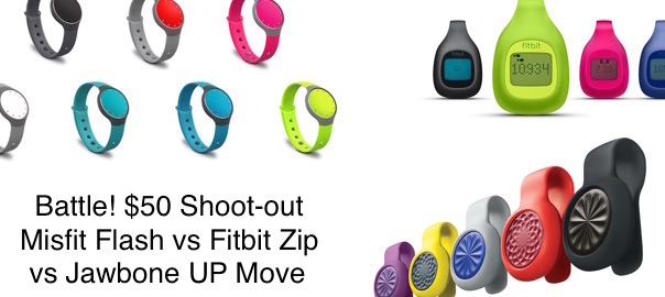 BATTLE! – Jawbone UP Move vs Misfit Flash vs Fitbit Zip – The $50 Shoot-out