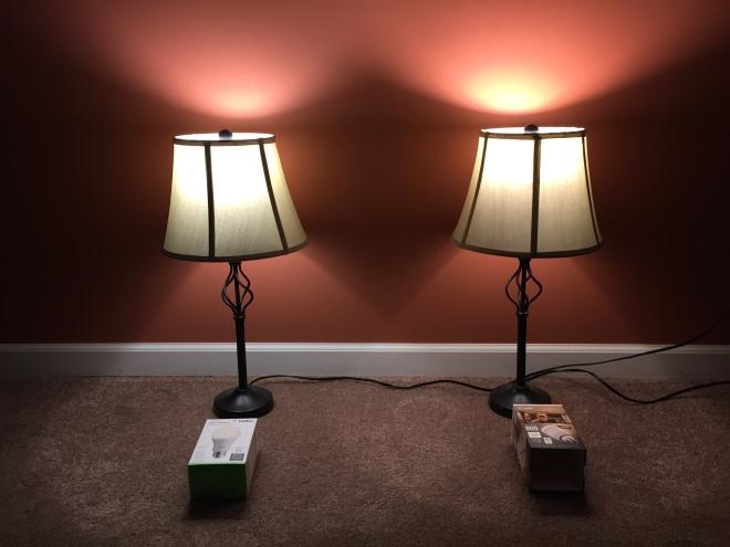 Left: Belkin WeMo white bulb, Right: LIFX 800 White bulb