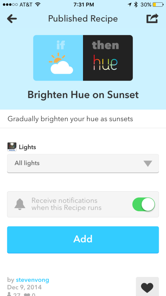 Example of an IFTTT recipe with your Philips Hue integration