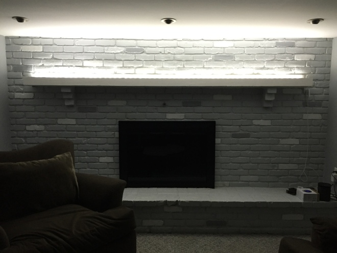 NEW Philips Hue strip with extension kit allows full coverage of our mantle over fireplace