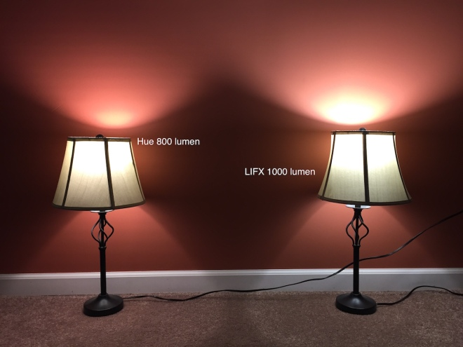 This is the new Philips Hue 800 lumen bulb compared to the new LIFX 1000 Color, both set to max brightness and pure white.  You can see a wider beam thanks to the flat topped LIFX, and more lumens to boot