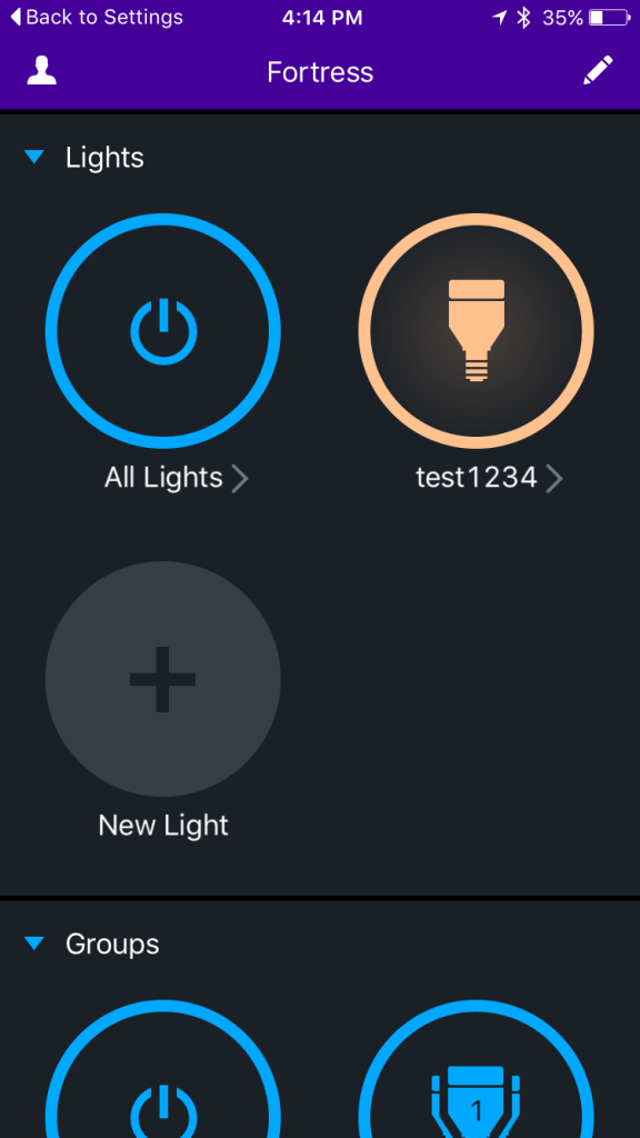 LIFX app, showing the bulbs you have setup