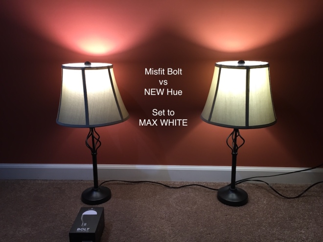 Misfit Bolt vs Philips Hue - Pure white is good, though the Hue has a nicer scatter in the beam pattern