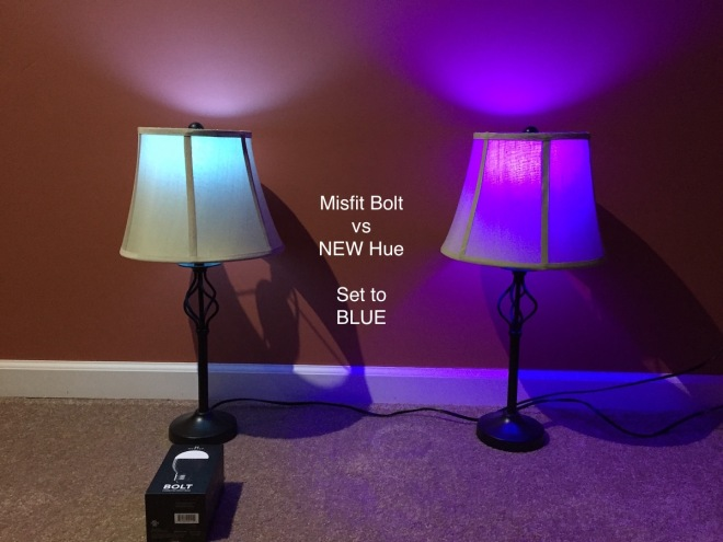 Misfit Bolt vs Philips Hue - Blue is too purple in Hue, and too cyan in Bolt