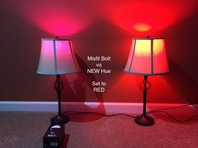 Misfit Bolt vs Philips Hue - Red looks quite washed out and purple in the Bolt
