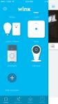 Wink Hub - iOS App - Screen showing various linked hardware