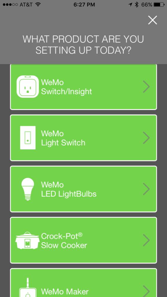 WeMo app setup screen 1 of 2