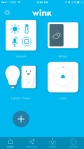 Wink Hub - iOS App - Home page showing various devices linked to hub