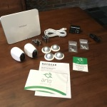 Arlo Wireless Smart Home Security Camera System - Expanded view of all hardware included with the starter kit shown